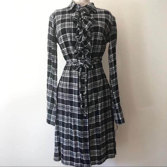 Converse Dresses & Skirts - Converse Plaid Button Down Shirt Dress Belt Tie